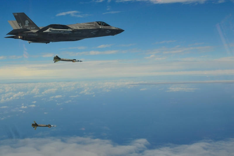 "In this Feb. 3, 2019, photo released by U.S. Marine's 31st Marine Expeditionary Unit, an F-35B Lightning II with the F-35B detachment of Medium Marine Tiltrotor Squadron 262 (Reinforced) releases Guided Bomb Units on-target above the Pacific Ocean. The training mission demonstrated an ""increase in lethality and integrated amphibious capability,"" it quoted Col. Robert Brodie, commanding officer of the 31st Marine Expeditionary Unit as saying. (Maj. Jesse Peppers/U.S. Marine Corps via AP)"