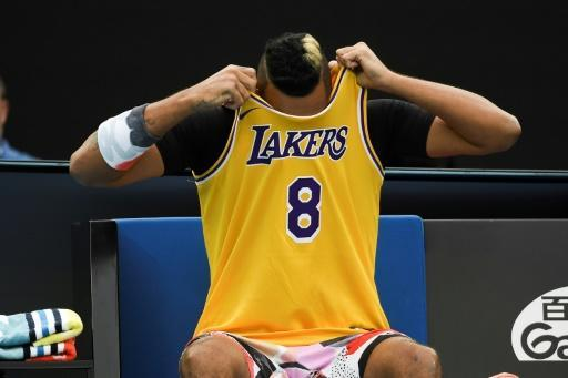 Australia's Nick Kyrgios arrived wearing a Lakers jersey, in tribute to Kobe Bryant