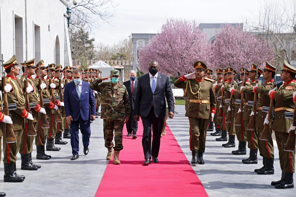 Defense Secretary Lloyd Austin at the presidential palace in Kabul, Afghanistan, on March 21, 2021.