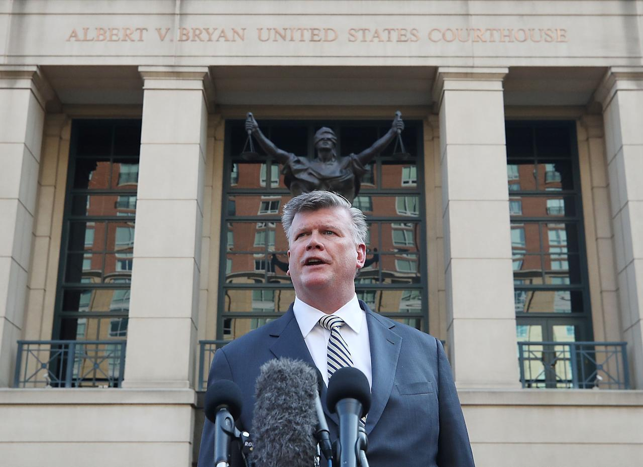 <p>Kevin Downing, attorney for former Trump campaign manager Paul Manafort, speaks to the media after leaving walking out of the Albert V. Bryan United States Courthouse after jury deliberations ended for the day, Aug. 16, 2018 in Alexandria, Va. (Photo: Mark Wilson/Getty Images) </p>