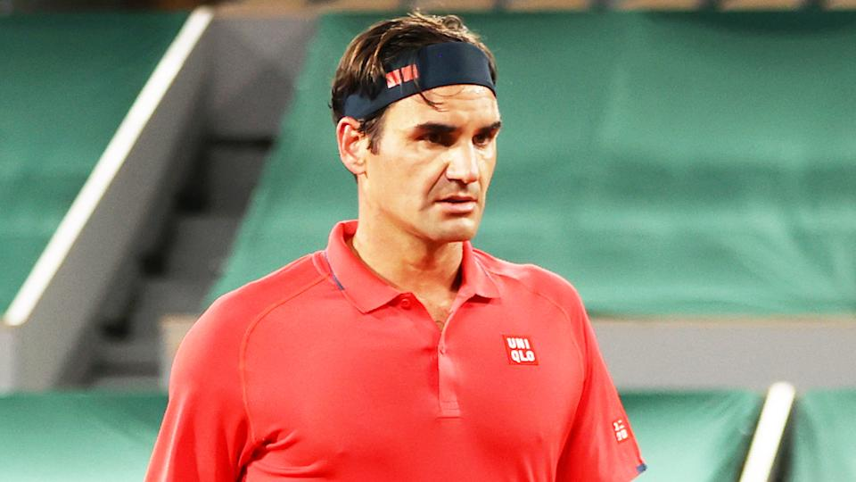Roger Federer (pictured) looking worried during his French Open match.