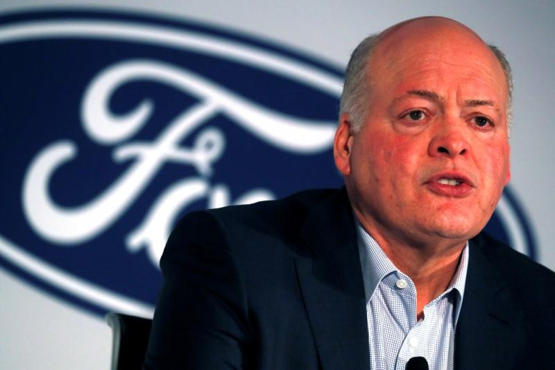 FILE PHOTO: FILE PHOTO: Ford President and CEO Jim Hackett speaks at a news conference in New York