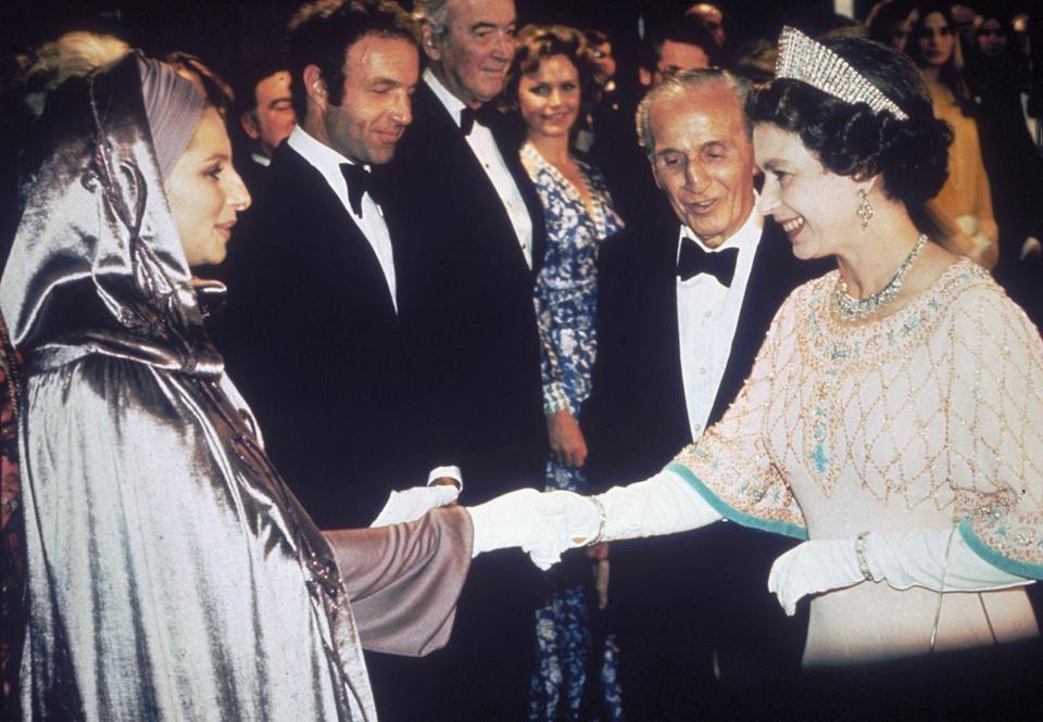 <p>Barbra Streisand showed up in your casual lavender hooded gown sitch to meet the Queen at the premiere of <em>Funny Lady </em>in 1975. She's Barbra Streisand, she can wear whatever she wants.</p>