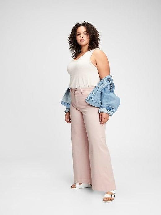 <p>We think these blush-pink <span>Gap High Rise Wide-Leg Pants</span> ($59, originally $70) would look equally good with a black top, too. </p>