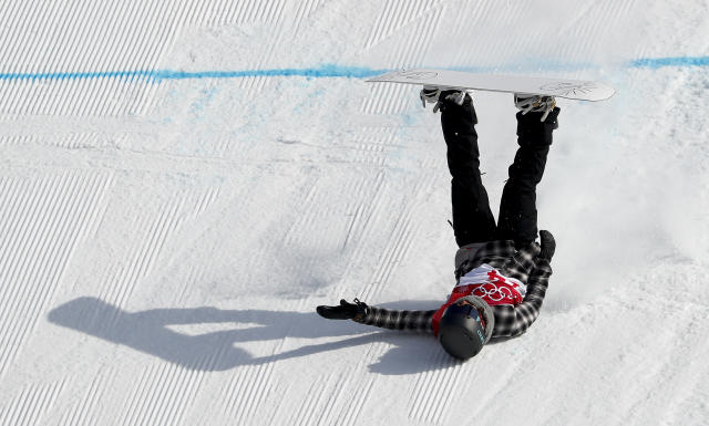 <p>Cheryl Maas, of the Netherlands, crashes during qualification for the women's big air snowboard competition at the 2018 Winter Olympics in Pyeongchang, South Korea, Monday, Feb. 19, 2018. (AP Photo/Matthias Schrader) </p>