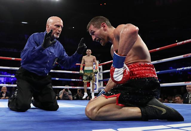 Teofimo Lopez knocks out Edis Tatli in the fifth round during their lightweight fight at Madison Square Garden on April 20, 2019 in New York City. (Al Bello/Getty Images)
