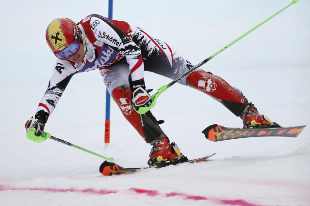 Marcel Hirscher of Austria crosses the finish line during the first run of the Alpine skiing slalom World Cup race at the Lauberhorn in Wengen, Switzerland, Sunday, Jan. 19, 2014. (AP Photo/Keystone, Peter Klaunzer)