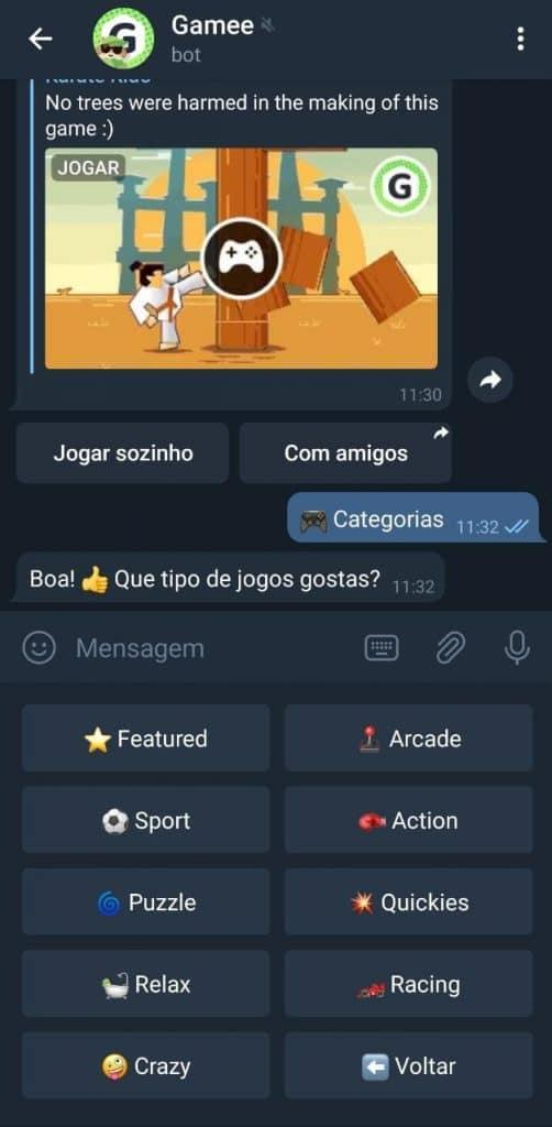Print do aplicativo do Telegram