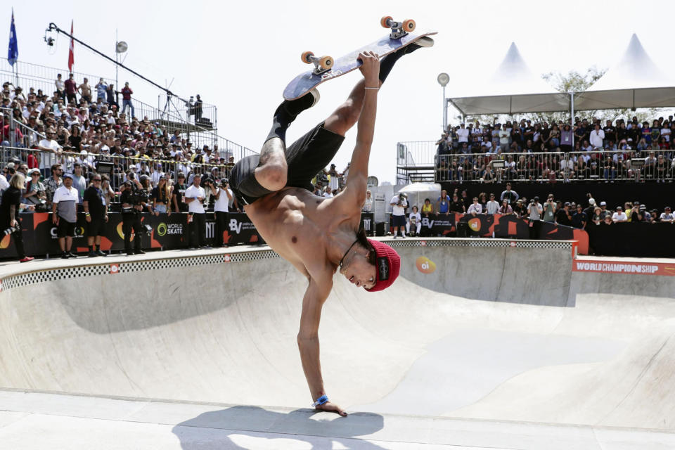 Heimana Reynolds performs en route to winning the men's final at the Park World Skateboarding Championships in São Paulo. - Credit: KYDPL KYODO/AP