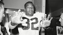<p><strong>Selling price:</strong> $78,000</p> <p>Only a handful of jerseys have ever fetched a higher price at auction than the one worn by Hall of Fame Cleveland Browns fullback Jim Brown, who went to nine straight Pro Bowls during his nine-year career. The Browns great ran for 12,312 yards and scored 126 touchdowns. Known for his toughness and grit, Brown had one of his best seasons during 1962-63, when he picked up 1,863 yards. When Brown's jersey from that season went up for auction in 2017, bidding opened at $25,000. Fourteen bids later, the hammer dropped at $78,000. Today, Jim Brown is one of the richest NFL MVPs of all time.</p>