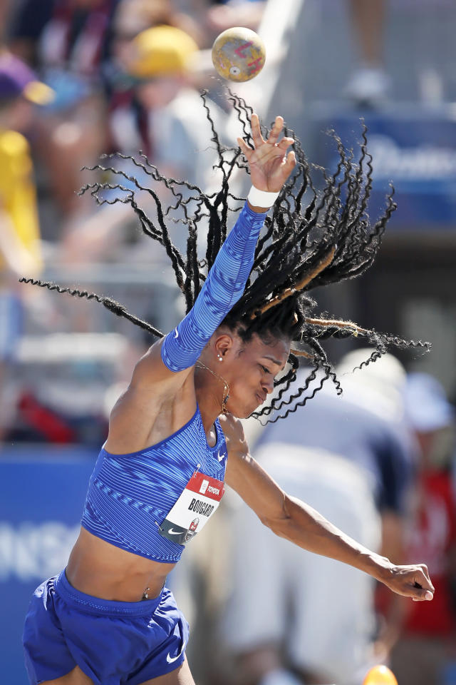 Erica Bougard throws during the heptathlon shot put at the U.S. Championships athletics meet, Saturday, July 27, 2019, in Des Moines, Iowa. (AP Photo/Charlie Neibergall)