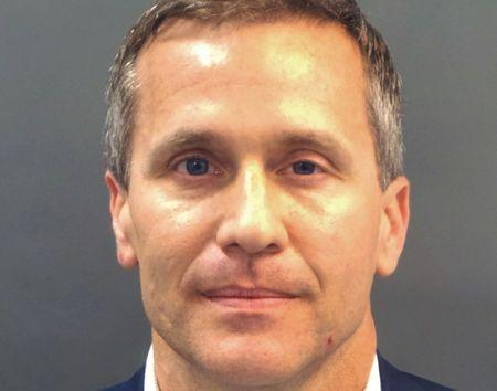 FILE PHOTO: Missouri Governor Eric Greitens appears in a police booking photo in St. Louis