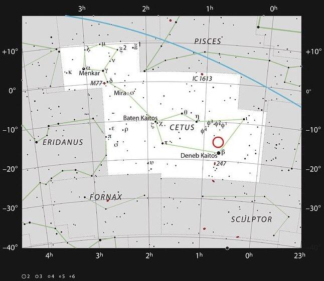 This chart shows the location of the faint red star LHS 1140 which is orbited by LHS 1140b - Credit: ESO/IAU and Sky & Telescope
