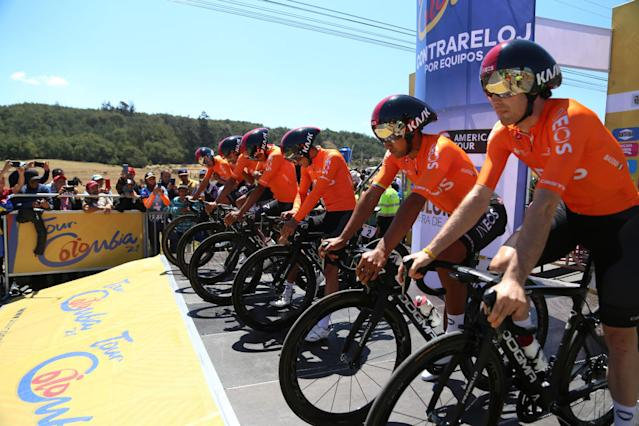 Team Ineos get ready to recon the Tour Colombia course