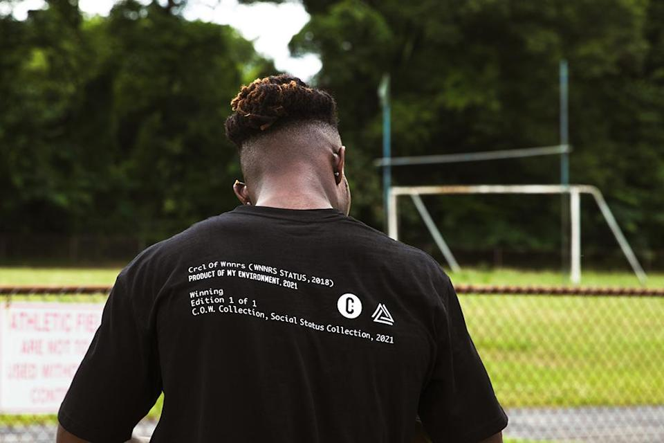 """A T-shirt from the Social Status x Crcl of Wnnrs """"Product of My Environment"""" collection. - Credit: Courtesy of The Whitaker Group"""