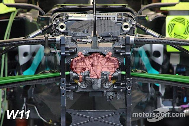 """Mercedes AMG F1 W11 front suspension detail highlighted <span class=""""copyright"""">Motorsport.com</span>"""