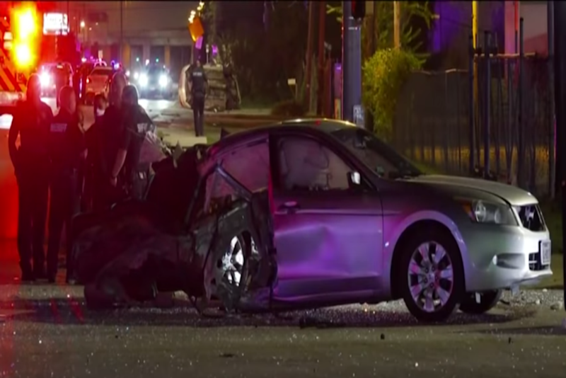The damage to the Uber that was crashed into on Saturday night in Houston ((KPRC 2 Click2Houston - YouTube))