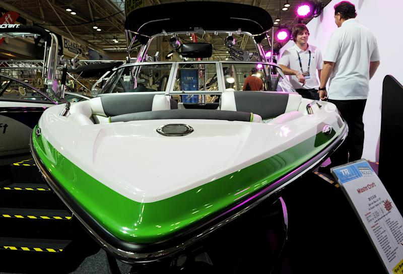 A Mastercraft X30 boat is displayed at the Sydney International Boat Show on August 2, 2012. Set in Sydney's Darling Harbour and running from August 2-6, the show is well known internationally for its vast array of boats, boating gear and all the services associated with the boating lifestyle. AFP PHOTO / Greg WOOD (Photo credit should read GREG WOOD/AFP/GettyImages)