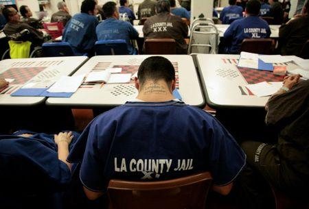 Inmates attend a life skills class at Men's Central Jail in Los Angeles