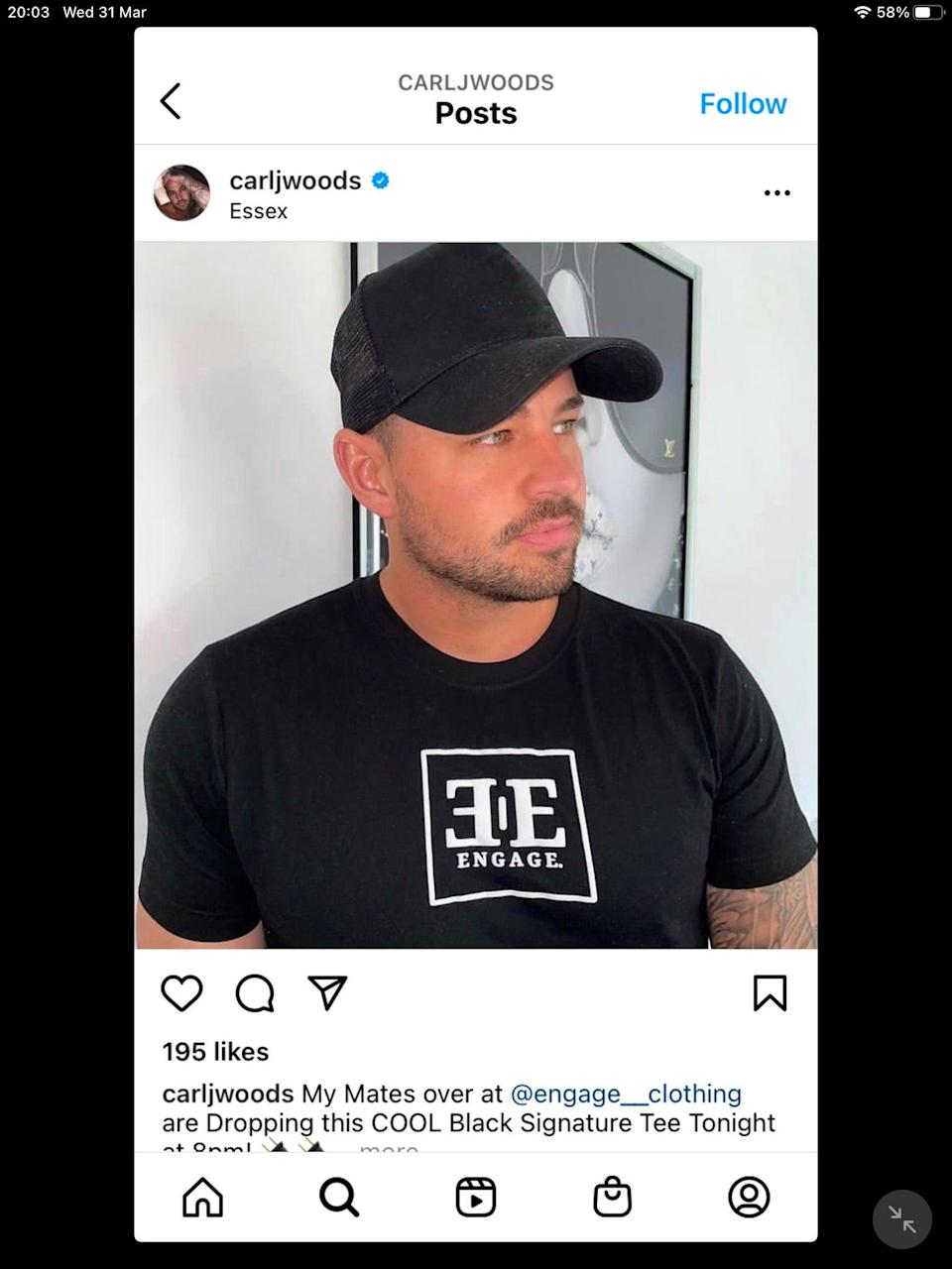 Carl Woods' Instagram post for Engage Clothing (ASA/PA)