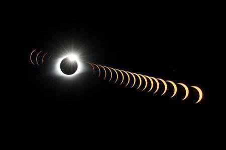 """A composite image of 21 separate photographs taken with a single fixed camera shows the solar eclipse as it creates the effect of a diamond ring at totality as seen from Clingmans Dome, which at 6,643 feet (2,025m) is the highest point in the Great Smoky Mountains National Park, Tennessee, U.S. August 21, 2017. Location coordinates for this image are 35º33'24"""" N, 83º29'46"""" W. REUTERS/Jonathan Ernst"""