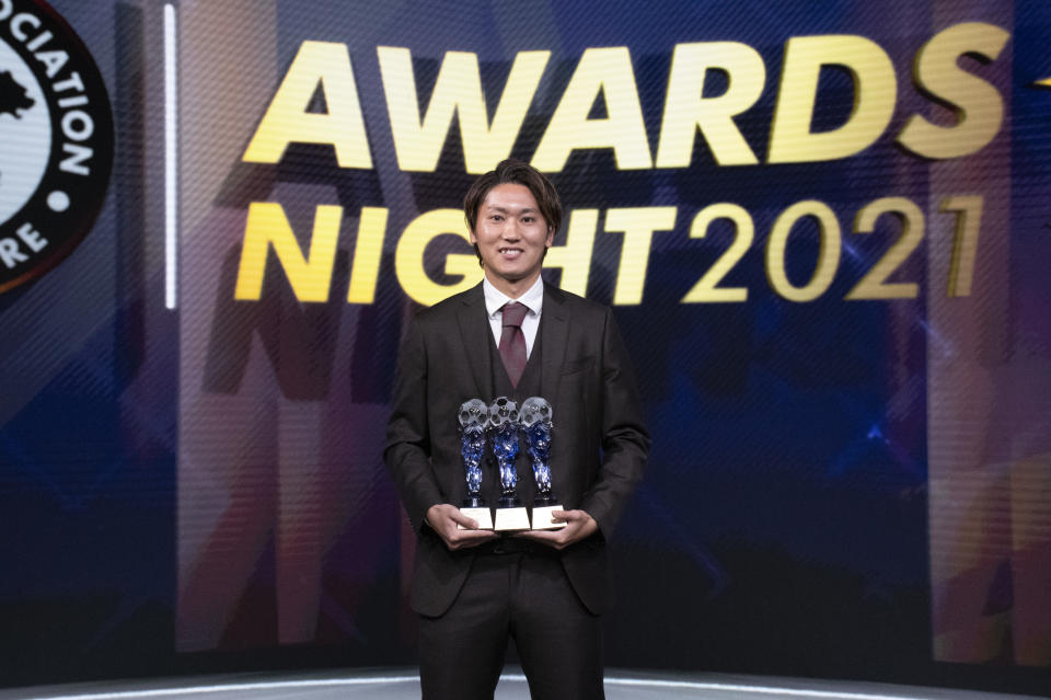 Hougang United's Tomoyuki Doi wins the Player of the Year award at the FAS Awards Night 2021. (PHOTO: Football Association of Singapore)