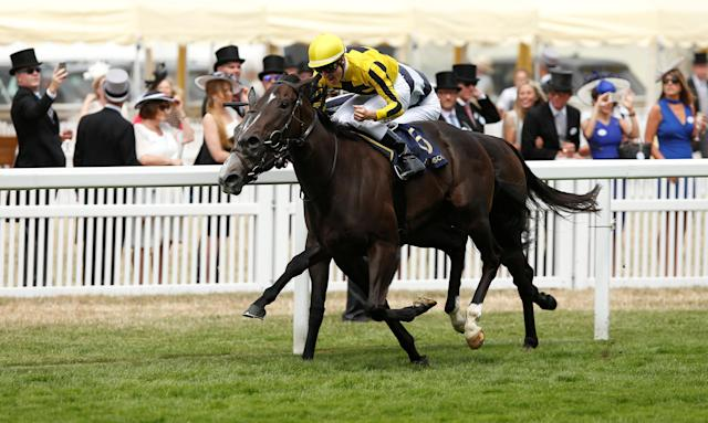 Horse Racing - Royal Ascot - Ascot Racecourse, Ascot, Britain - June 23, 2017 Antoine Hamelin on Different League wins the 2.30 Albany Stakes Action Images via Reuters/Matthew Childs