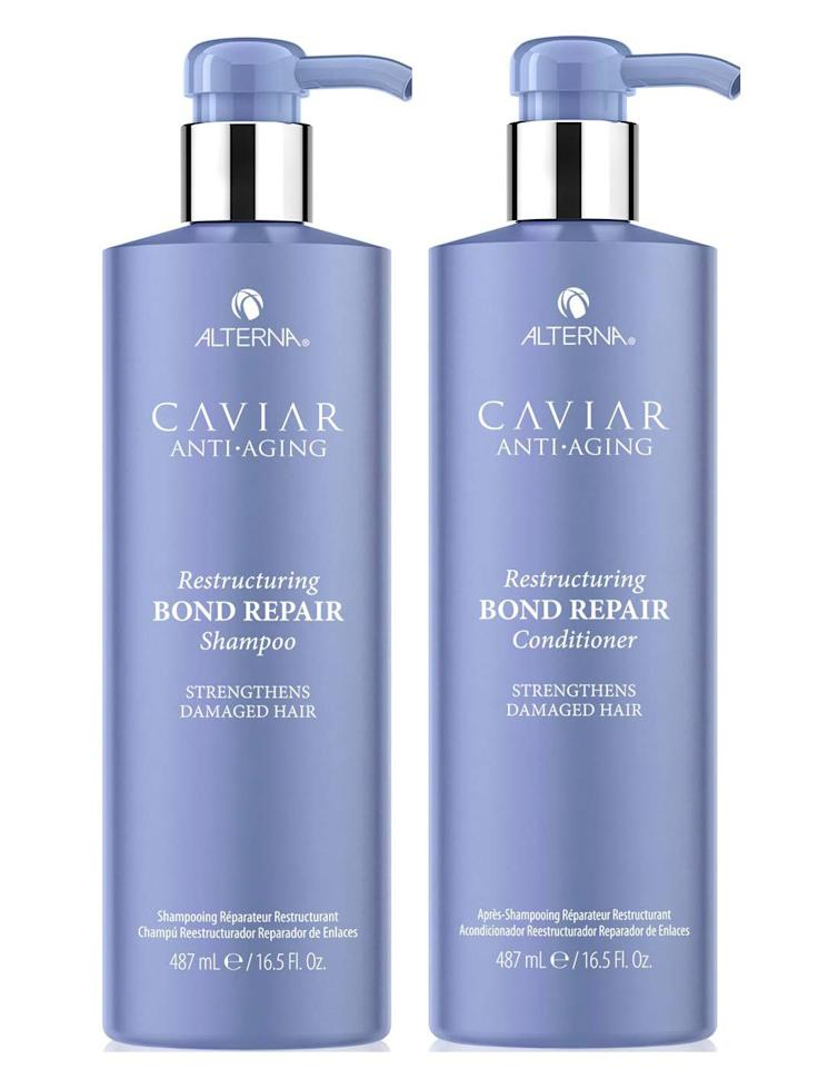 """<p>Aging hair is more prone to dryness and breakage. This set helps gives strands a thicker and fuller appearance by helping to rebond and reinforce the surface of the hair itself.</p><p><strong>Alterna</strong> Caviar Anti-Aging Restructuring Bond Repair Shampoo and Conditioner, $34 each,<a href=""""https://www.ulta.com/caviar-anti-aging-restructuring-bond-repair-shampoo?productId=pimprod2000203"""" target=""""_blank""""> ulta.com</a> <a class=""""body-btn-link"""" href=""""https://go.redirectingat.com?id=74968X1596630&url=https%3A%2F%2Fwww.ulta.com%2Fcaviar-anti-aging-restructuring-bond-repair-shampoo%3FproductId%3Dpimprod2000203&sref=http%3A%2F%2Fwww.harpersbazaar.com%2Fbeauty%2Fhair%2Fg5153%2Fbest-shampoos-and-conditioners%2F"""" target=""""_blank"""">SHOP NOW</a></p>"""