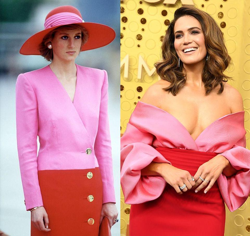 """<p>Red and pink recently made a major comeback <a href=""""https://www.harpersbazaar.com/celebrity/red-carpet-dresses/a29180426/pink-red-dresses-emmys-2019/"""" rel=""""nofollow noopener"""" target=""""_blank"""" data-ylk=""""slk:on the red carpet"""" class=""""link rapid-noclick-resp"""">on the red carpet</a>. But even if the trend is everywhere, it's hard not to compare Princess Diana's Catherine Walker suit and hat look in Kuwait on a royal tour in 1989 with Mandy Moore's Brandon Maxwell gown on the Emmys red carpet in 2019. </p>"""