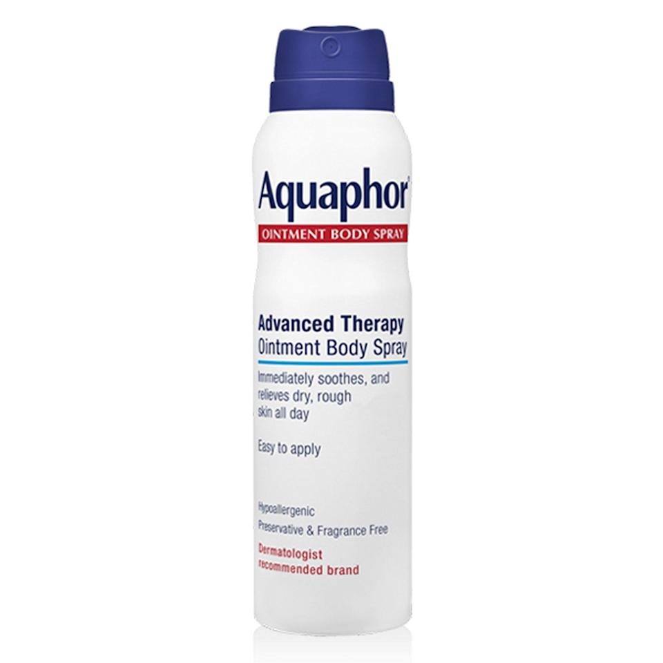"""<p>A new and arguably improved version of Aquaphor's original healing ointment, its Advanced Therapy Ointment Body Spray offers the same skin-softening and protective benefits, minus the thick, somewhat greasy feel that some people can't get into. Instead, this lightweight spray delivers an even mist that soothes skin upon contact and softens dry or scaly patches, too. New York City-based dermatologist <a href=""""http://www.smarterskindermatology.com/"""" rel=""""nofollow noopener"""" target=""""_blank"""" data-ylk=""""slk:Sejal Shah"""" class=""""link rapid-noclick-resp"""">Sejal Shah</a> says she recommends it because you can easily spritz, rub it in, and go in one easy motion, and it works just as well as the original.</p> <p><strong>$10</strong> (<a href=""""https://shop-links.co/1635727613365264685"""" rel=""""nofollow noopener"""" target=""""_blank"""" data-ylk=""""slk:Shop Now"""" class=""""link rapid-noclick-resp"""">Shop Now</a>)</p>"""