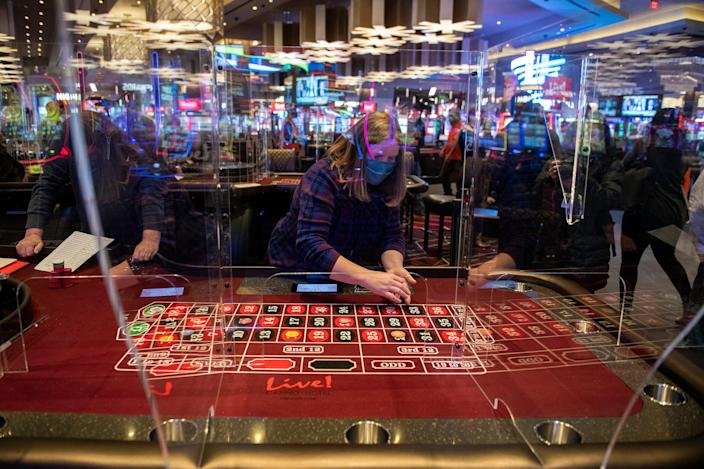 Trainees work at the new Live! Casino & Hotel in Philadelphia on Thursday, Jan. 14, 2021.