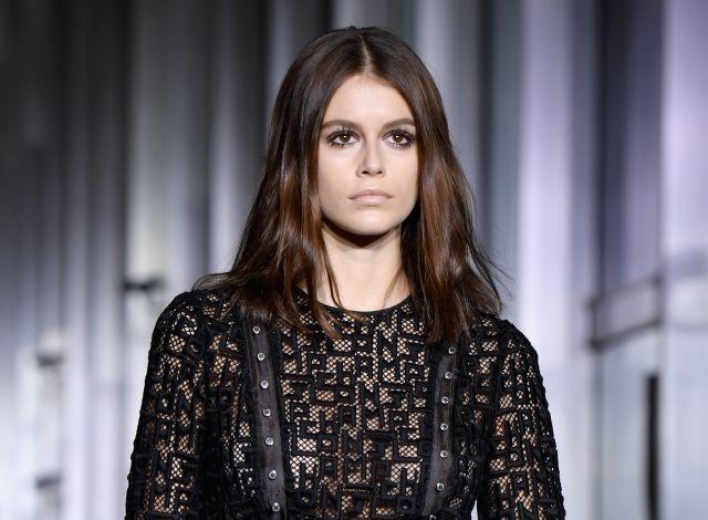 Kaia Gerber at Longchamp, which featured barely-there makeup