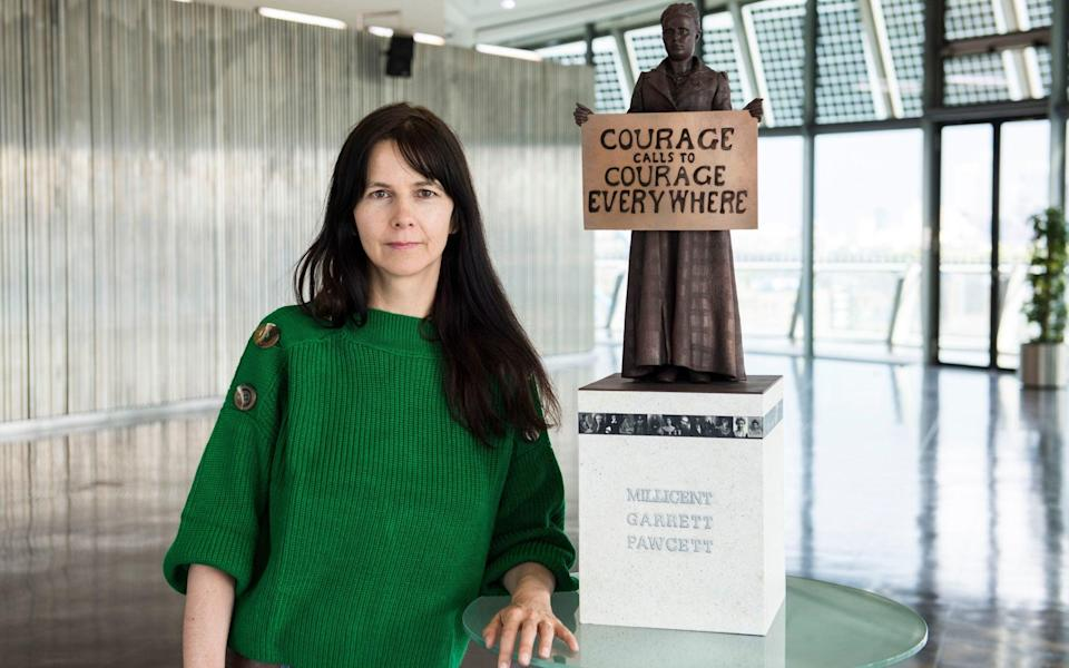 Gillian Wearing with her statue of Millicent Fawcett - PA