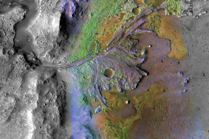 The Jezero Crater on Mars. (NASA / JPL-Caltech/MSSS/JHU-APL)