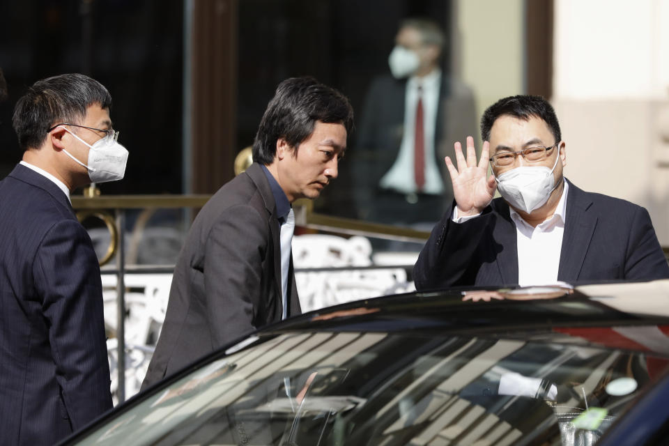 The ambassador of the Permanent Mission of the People's Republic of China to the United Nations, Wang Qun, leaves the 'Grand Hotel Wien' where closed-door nuclear talks with Iran take place in Vienna, Austria, Saturday, May 1, 2021. (AP Photo/Lisa Leutner)