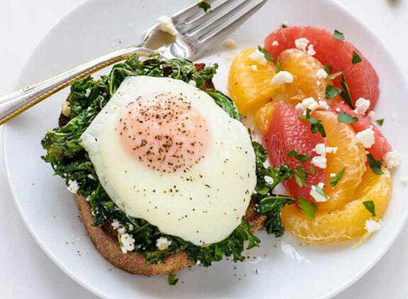 Easy Kale Feta Egg Toast