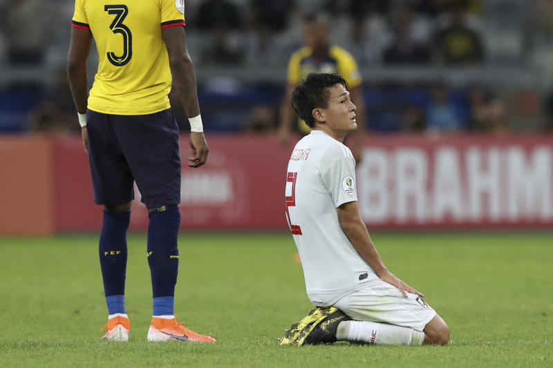 Japan's Daiki Sugioka reacts during a Copa America Group C soccer match against Ecuador at Mineirao stadium in Belo Horizonte, Brazil, Monday, June 24, 2019. The match ended in a 1-1 tie, eliminating both teams from the tournament. (AP Photo/Ricardo Mazalan)