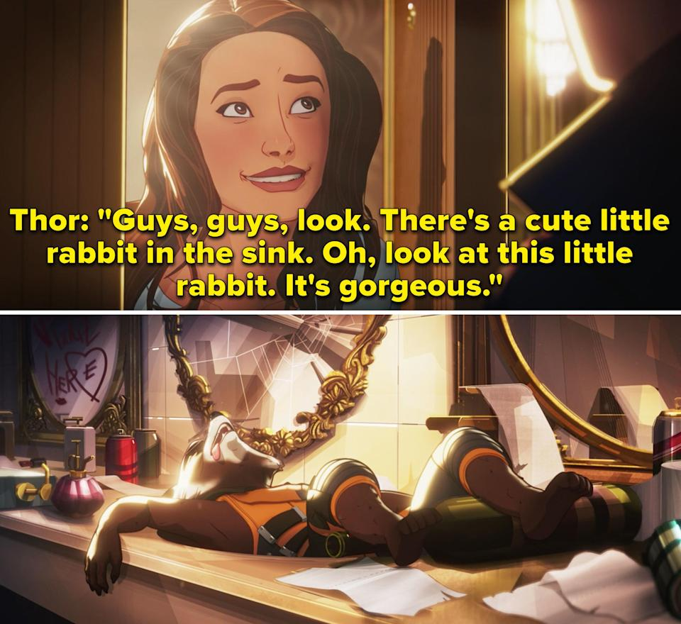 """Thor saying, """"There's a cute little rabbit in the sink. Oh, look at this little rabbit. It's gorgeous"""""""