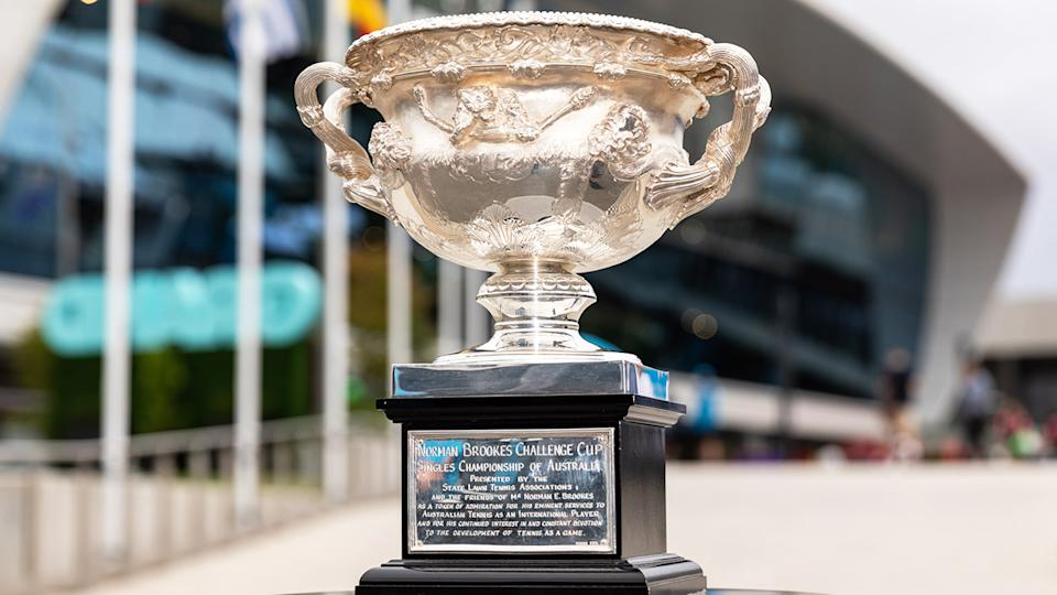 The Australian Open trophy, pictured here at Melbourne Park.