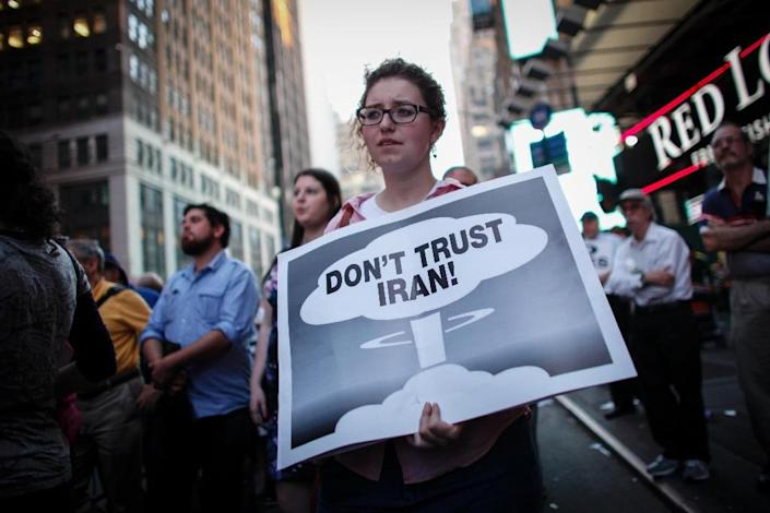 A woman takes part in a rally on July 22, 2015 in New York City opposing the nuclear deal with Iran (AFP Photo/Kena Betancur)