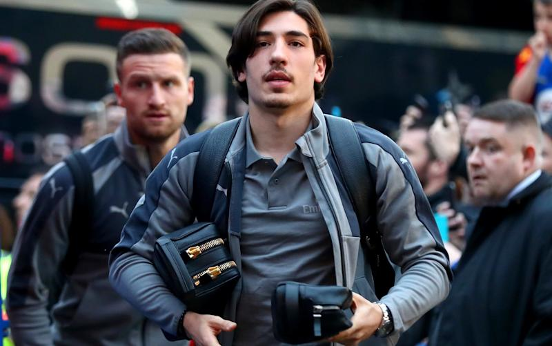 Hector Bellerin and Shkodran Mustafi of Arsenal arrive prior to the Premier League match between Crystal Palace and Arsenal  - Credit: Getty