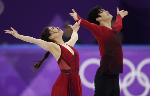 Maia Shibutani and Alex Shibutani of the United States perform during the ice dance, free dance figure skating final in the Gangneung Ice Arena at the 2018 Winter Olympics in Gangneung, South Korea. (AP)