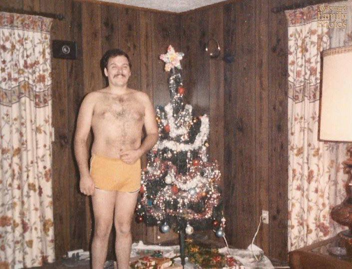 """This is a photo of my dad back in '84 or '85. Those were one of his many pairs of daisy dukes. Both him and my grandpa had a matching pair of ones with rainbows on the sides. I was always embarrassed when they would attempt to take me out in public while they were wearing them."""