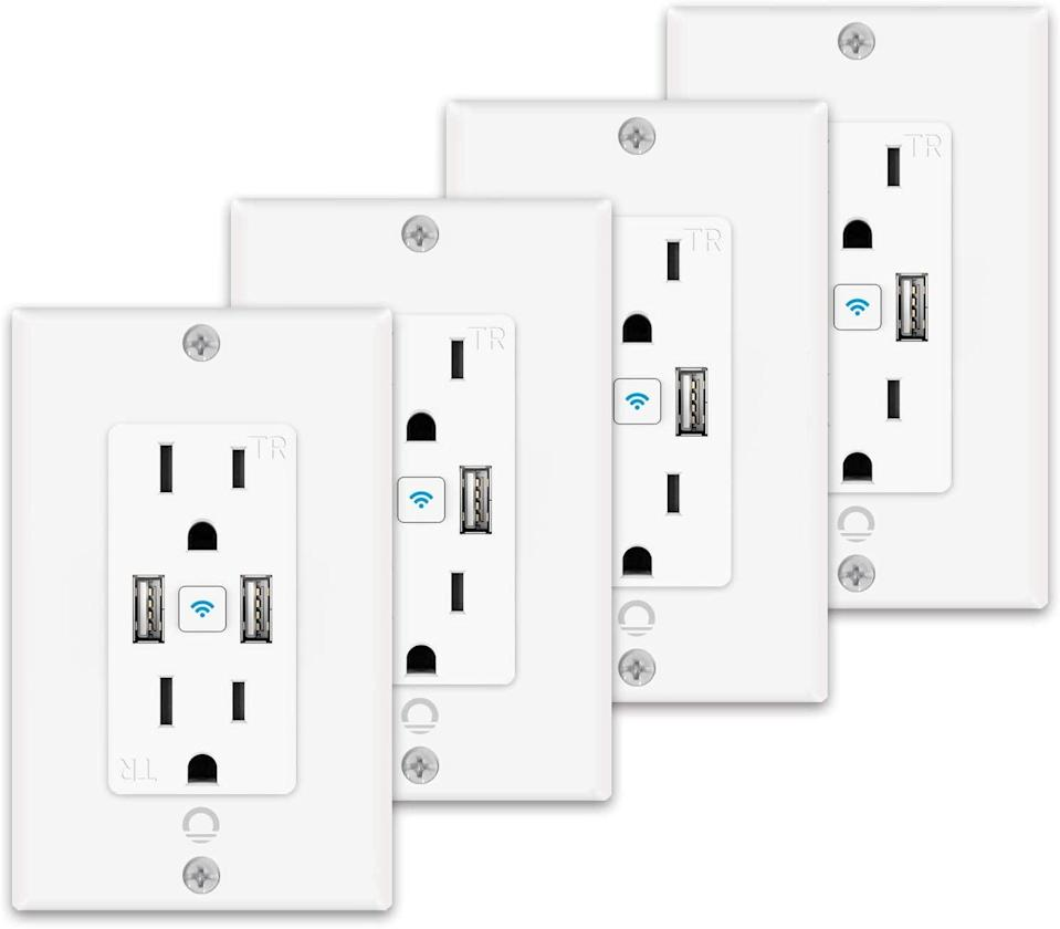 <p>This <span>iLintek Smart Outlet With USB Ports 4-Pack</span> ($90) is great for bedrooms, kitchens, and home offices without adding the bulkiness of external smart plugs. </p>