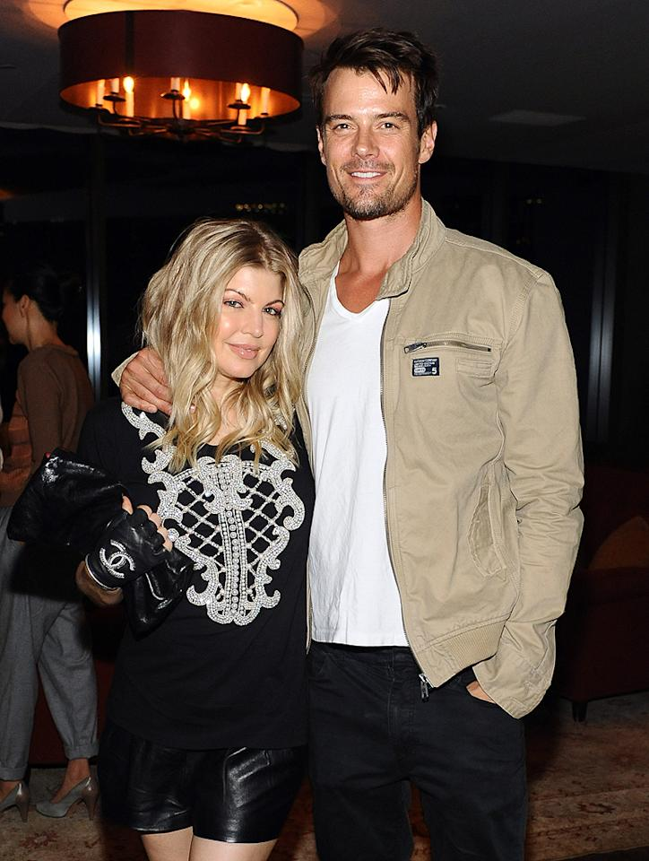 "Fergie, clad in leather shorts and fingerless Chanel gloves, and her under-dressed hubby Josh Duhamel were among the celebrity guests at a bash that <em>Elle</em> threw for the season premiere of creative director Joe Zee's reality show, ""All on the Line With Joe Zee"" at the Soho House in West Hollywood, California, on Wednesday. The show, which returns September 21 to the Sundance Channel, features Zee mentoring up-and-coming designers. (9/19/2012)"