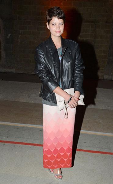 <b>Pixie Geldof</b><br><br>Peaches Geldof's younger sister made a stylish appearance at the Jonathan Saunders, Fantastic Man & Selfridges London Collections Dinner in a printed skirt and leather jacket.<br><br>All images © Rex