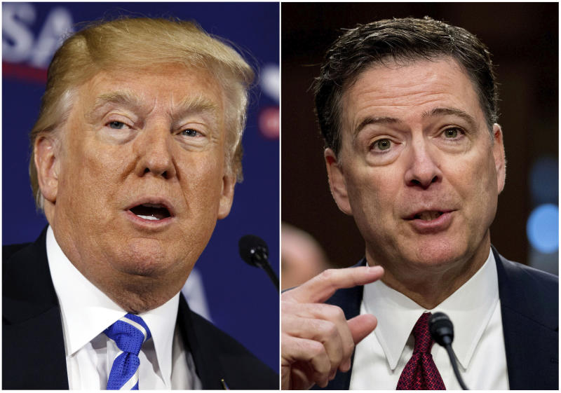 This combination photo shows President Donald Trump speaking during a roundtable discussion on tax policy in White Sulphur Springs, W.Va., on April 5, 2018, left, and former FBI director James Comey speaking during a Senate Intelligence Committee hearing on Capitol Hill in Washington on June 8, 2017. (AP Photo/Evan Vucci, left, and Andrew Harnik)