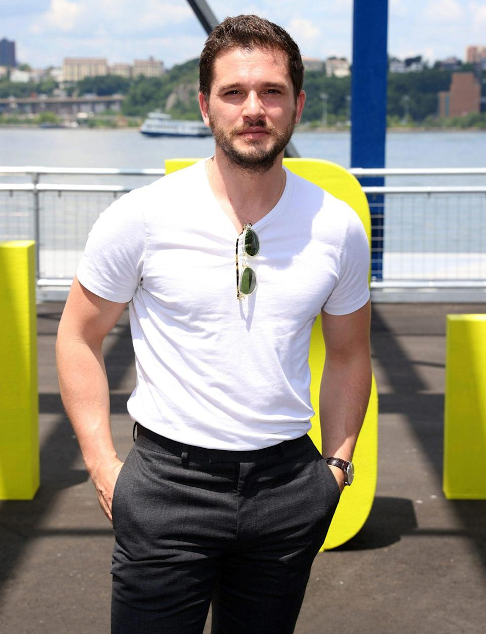 <p>Kit Harington arrives at the 2021 Tribeca Festival Welcome Lunch at Pier 76 on June 9 in N.Y.C.</p>
