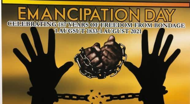 The New Brunswick Black History Society's poster commemorating Canada's first official Emancipation Day on Aug. 1.  (Mia Urquhart/CBC - image credit)