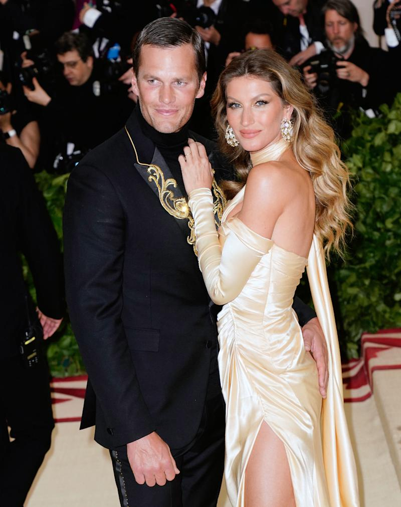 Bündchen and Tom Brady attend the Heavenly Bodies: Fashion & The Catholic Imagination Costume Institute Gala at the Metropolitan Museum of Art on May 7. (Jackson Lee via Getty Images)